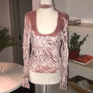 TOPSHOP pink velvet shirt